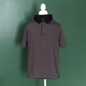 Walter Hagen Gray and black striped golf shirt